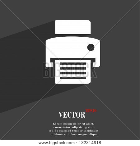 Fax, Printer Symbol Flat Modern Web Design With Long Shadow And Space For Your Text. Vector