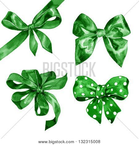 Watercolor green bow set on white background