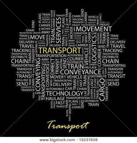 TRANSPORT. Word collage on black background. Vector illustration.