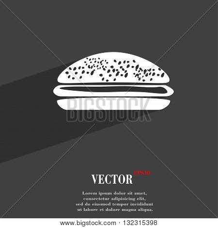 Burger, Hamburger Symbol Flat Modern Web Design With Long Shadow And Space For Your Text. Vector