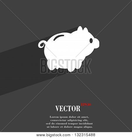 Piggy Bank Symbol Flat Modern Web Design With Long Shadow And Space For Your Text. Vector