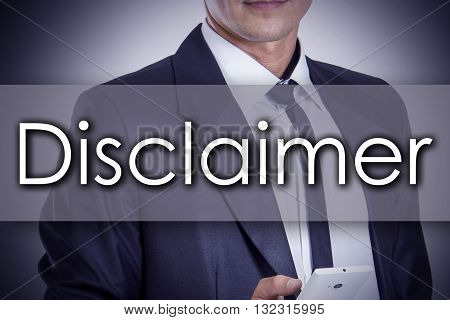 Disclaimer - Young Businessman With Text - Business Concept