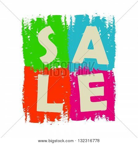 sale drawn label - text in green, blue, orange and purple banner, business shopping concept, vector
