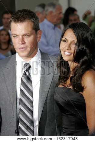 Matt Damon and Luciana Damon at the Los Angeles premiere of 'The Bourne Ultimatum' held at the ArcLight Cinemas in Hollywood, USA on July 25, 2007.