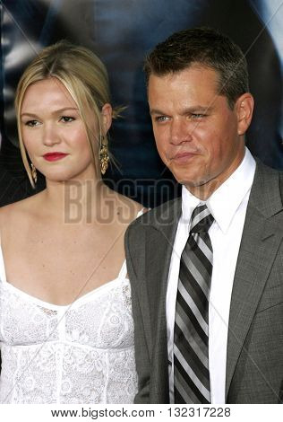 Matt Damon and Julia Stiles at the Los Angeles premiere of 'The Bourne Ultimatum' held at the ArcLight Cinemas in Hollywood, USA on July 25, 2007.