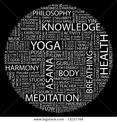 YOGA. Word collage on black background. Vector illustration.