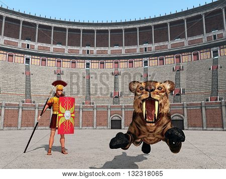 Computer generated 3D illustration with animal attack in the Colosseum in ancient Rome