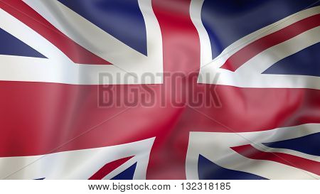 United kingdom flag waving in the wind