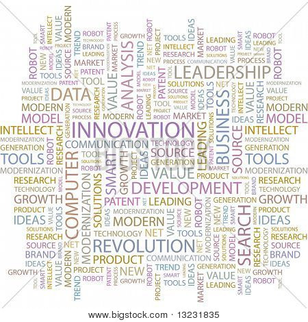 INNOVATION. Word collage on white background. Vector illustration.