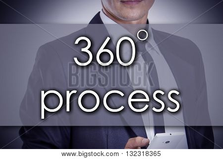 360 Degree Process - Young Businessman With Text - Business Concept
