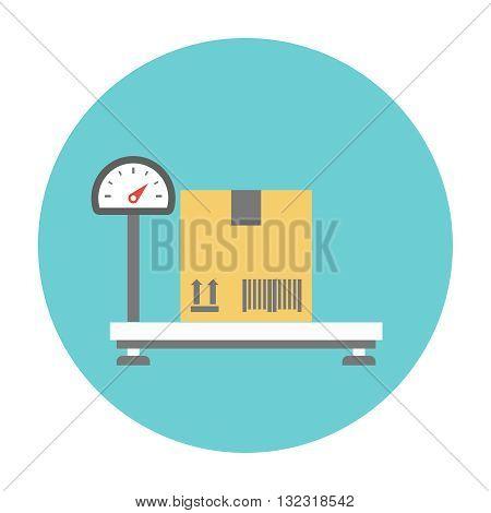 Weighing cardboard box. Cardboard box on the scales