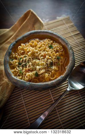Simple Korean spicy ramen noodles in red broth