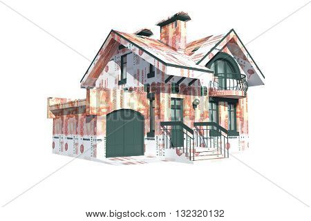 Two-storey private house with a pitched roof covered outside bills of Russian money. On a white background. Symbolizes the investing in real estate.