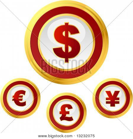 Vector dollar, euro, yen and pound signs. Button set.