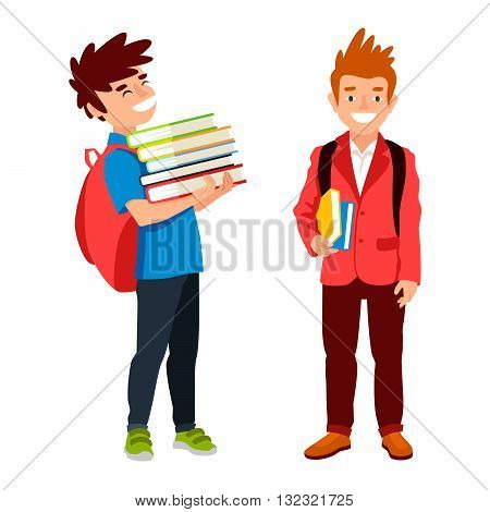 Two student with backpack and book. The concept of school education. Vector illustrations isolated on white background. Schoolboys.