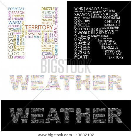 WEATHER. Word collage. Vector illustration.