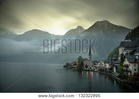 View of Hallstatt with Lake and Mountain in Background