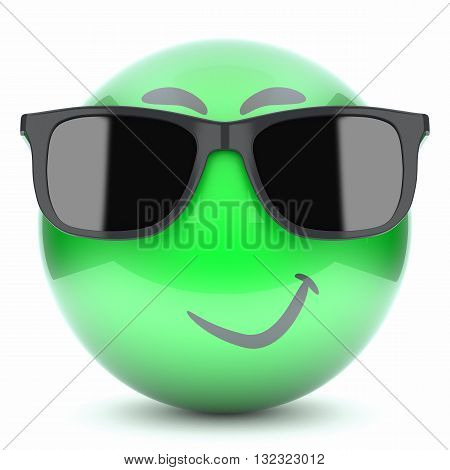 Green Smiley Face, Emoticon With Glasses 3D