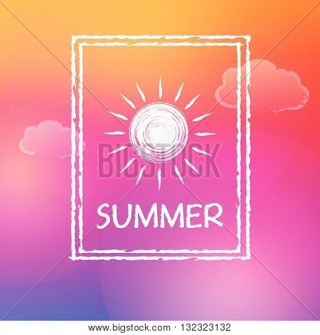 text summer with white sun and clouds in frame over orange pink sky background, flat design label, vector