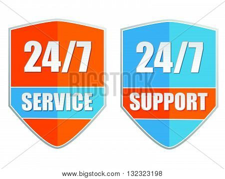 24/7 service and support, two orange blue labels, flat design, business attendance concept, vector