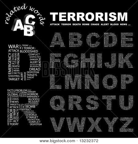 TERRORISM. Vector letter collection. Wordcloud illustration.