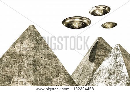 3d illustration of ufo over pyramids isolated on white background