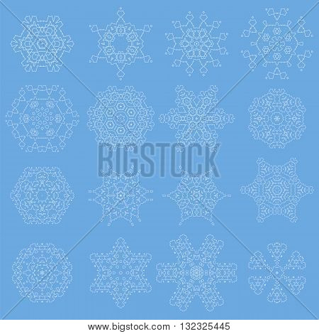 Round Geometric Ornaments Set Isolated on Blue Background