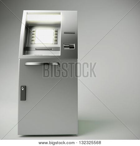 3d illustration of atm isolated on gray background