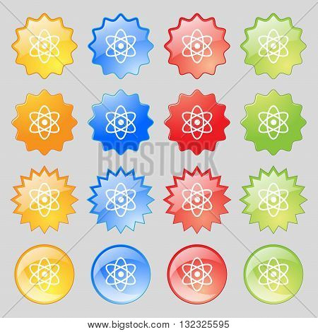 Atom, Physics Icon Sign. Big Set Of 16 Colorful Modern Buttons For Your Design. Vector