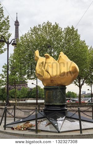 PARIS, FRANCE - MAY 14, 2013: This is Flame of Liberty which is a replica of the torch flame Statuyui Liberty in New York City.