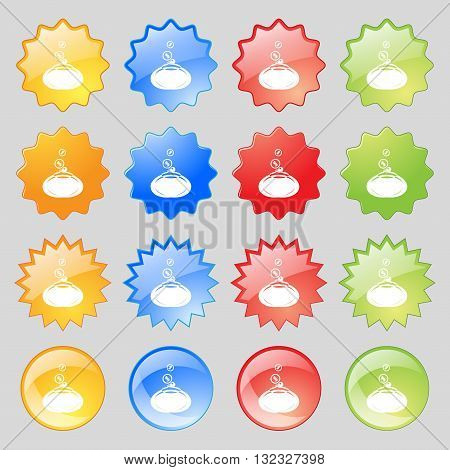 Retro Purse Icon Sign. Big Set Of 16 Colorful Modern Buttons For Your Design. Vector