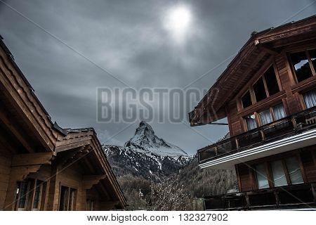 Zermatt Valley with Matterhorn Background - Switzerland