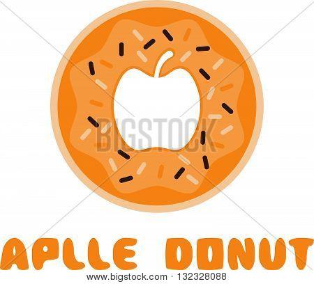 Apple Donut Negative Space Concept Vector Illustration