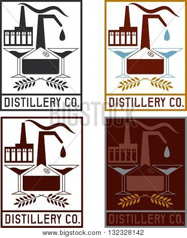 Distillery Company With Copper Whiskey Still And Martini Glasses Labels Set