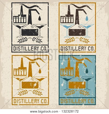 Distillery Company With Copper Whiskey Still And Martini Glasses Grunge Labels Set