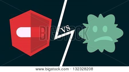 Antibiotics vs bacteria. Vector illustration of pill against infection