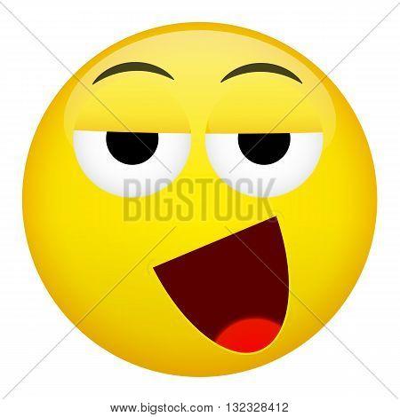 Drunken tired smile laugh emotion. Emoji vector illustration.