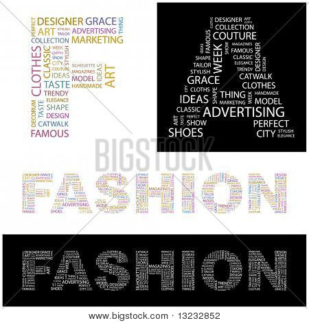 FASHION. Word collage. Vector illustration.