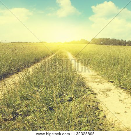 Country road and sunlight in vintage style.