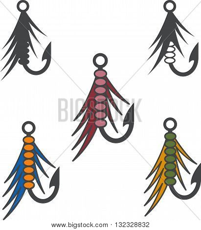 Set Of Fishing Hooks And Lures Vector Design Template