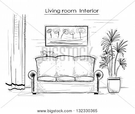 Sketchy Interior Illustration Of Living Room.vector Hand Drawing Coach