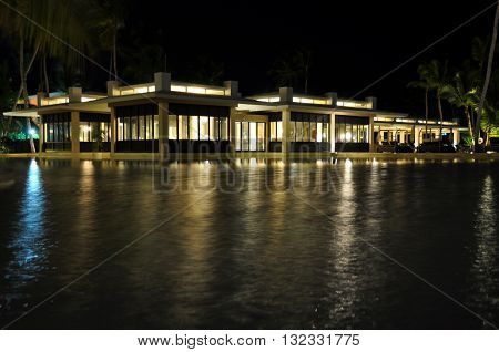 Punta Cana Dominican Republic - March 25 2010: Territory of Hotel Catalonia Royal Bavaro in Punta Cana swimming pool at night