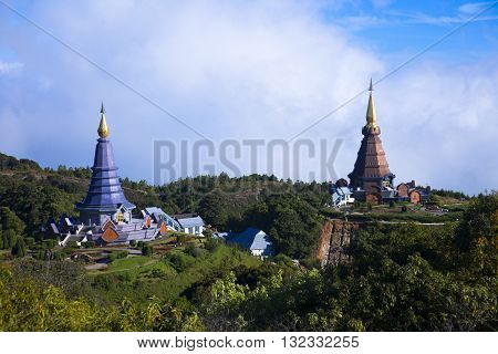 Napapon Phoom-siri Chedi - a temple dedicated to the Queen of Thailand commemorating her 60th birthday near the summit of Doi Inthanon Thailand's highest peak.