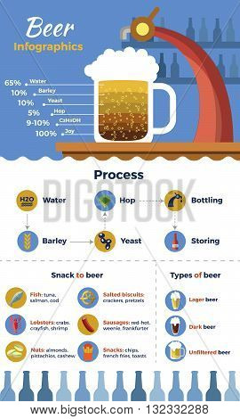 Beer flat infographic with description of structure process types and snacks for beer and beer beverages vector illustration