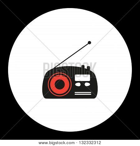 Old Radio Simple Isolated Black And Red Icon Eps10