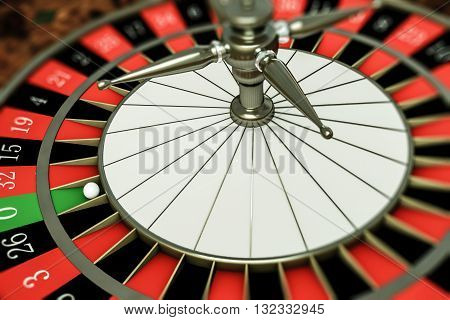 3d illustration of a roulette with ball on number zero