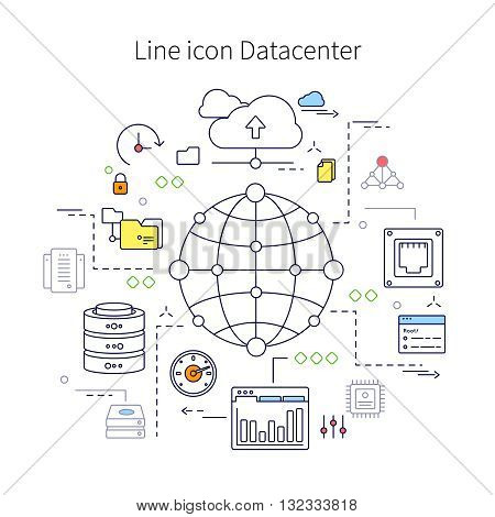 Datacenter line illustration with description of line icon datacenter and different little icon on this theme vector illustration