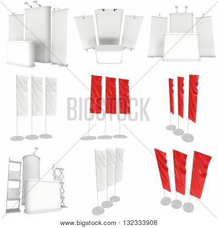 Trade show booth set. Roll-Up Pop-Up and Flag Blank Expo Banner Stand. 3d render isolated on white background. 3d render isolated on white background. Floor Stands Collection. Ad template for your expo design.
