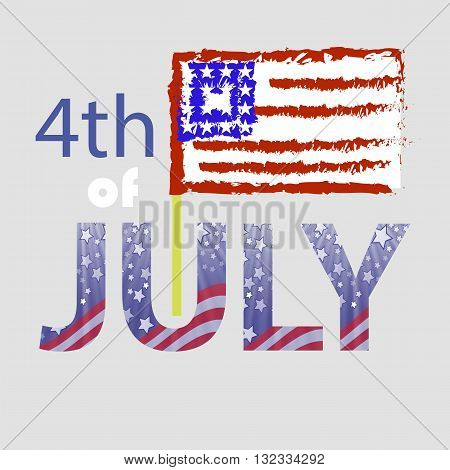 Independence Day of USA. American Flag 4 July Poster. Independence Day Background