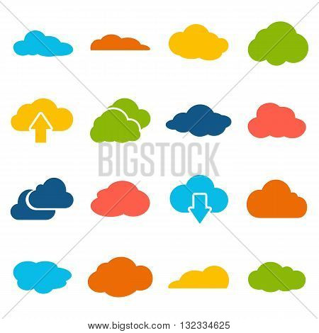 Cloud shapes collection. Cloud icons for the weather forecast web interface or cloud storage applications cloud computing web and app. Vector design elements isolated on white background